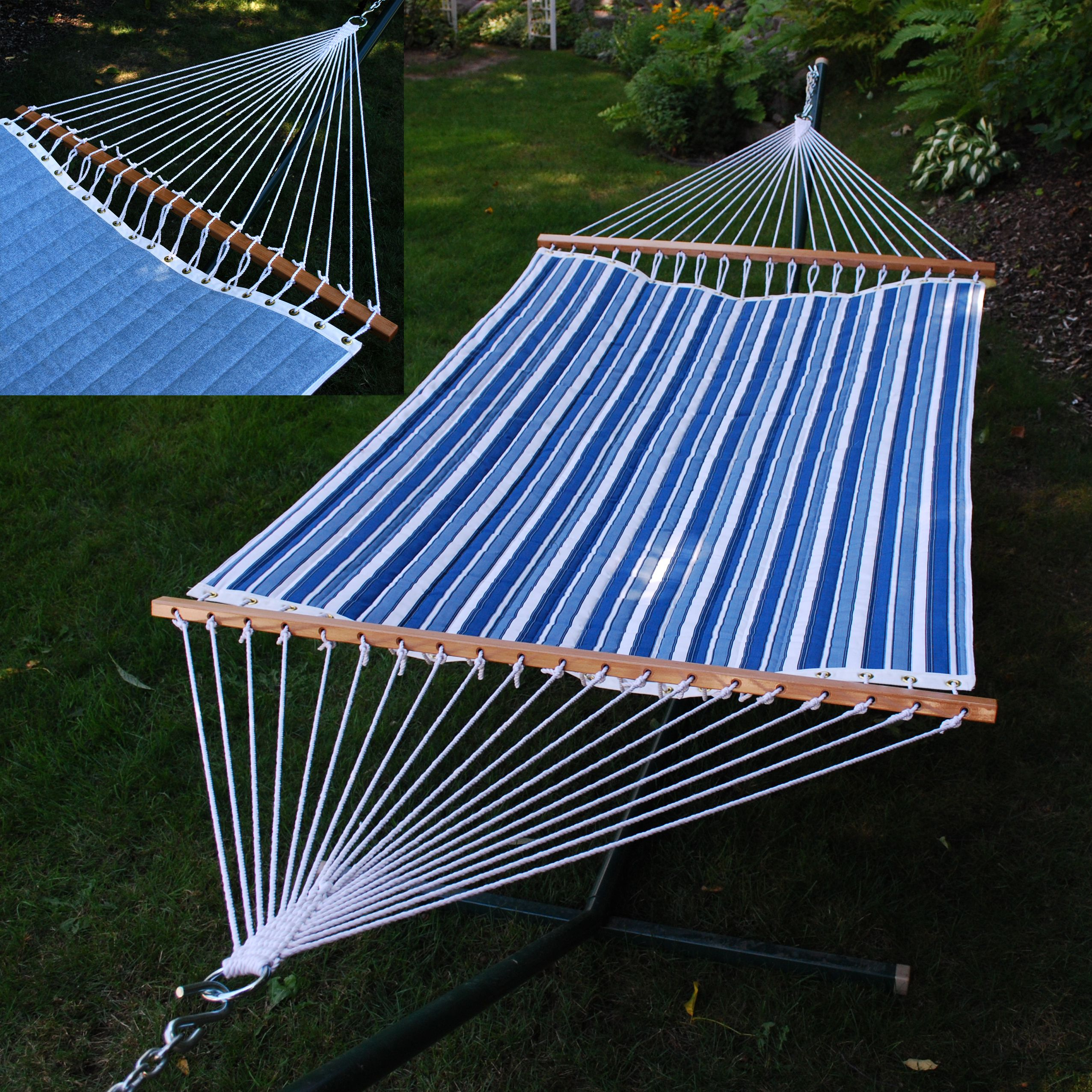 """82"""" x 55"""" Blue and White Reversible Quilted Tropical Palm Hammock"""