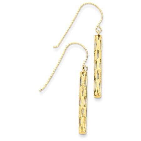 14k Yellow Gold 1.5IN Long Dangle Mesh Tube Shepherds Hook Earrings