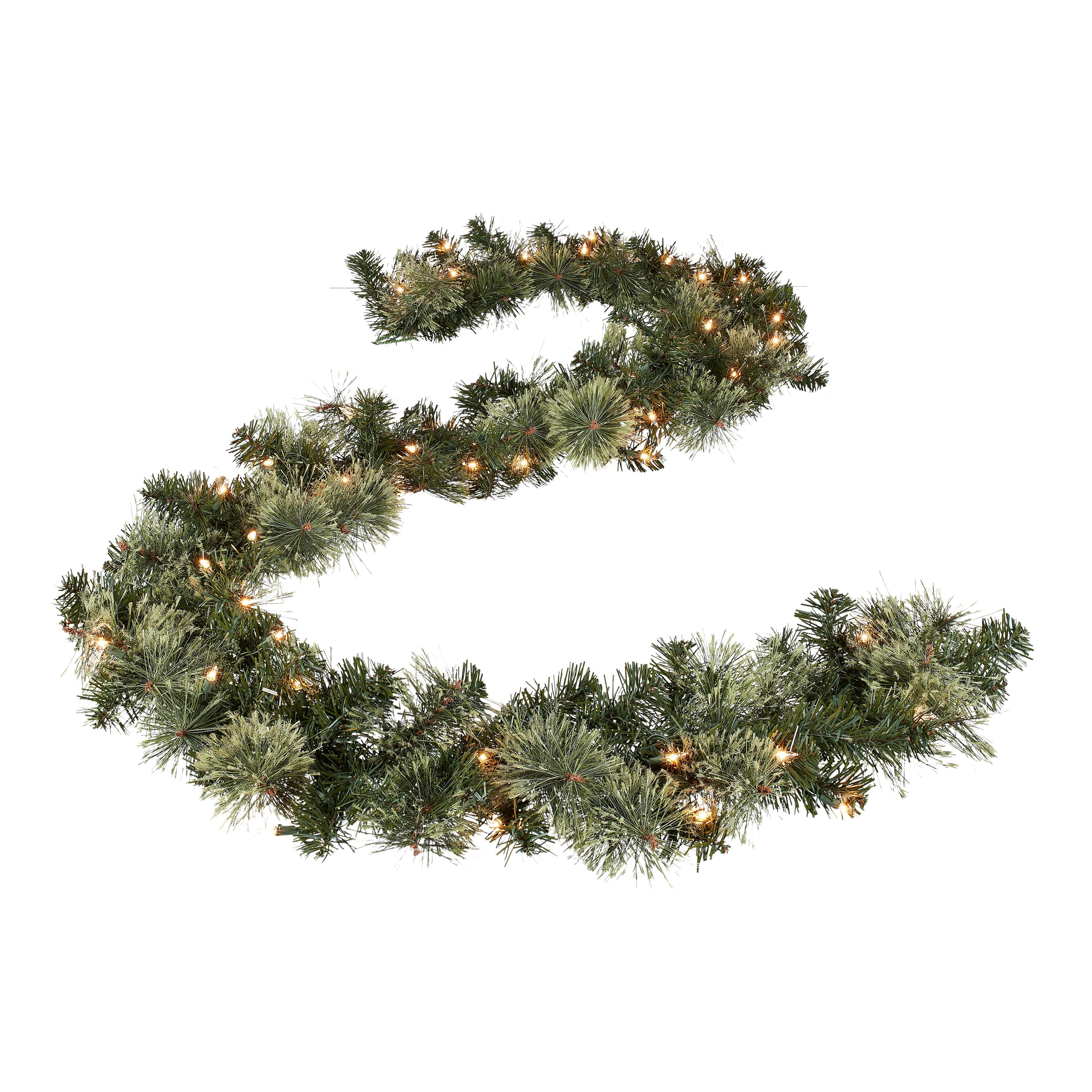 Green Berries Best Choice Products 9-Foot Pre-Lit Cordless Artificial Christmas Garland with 50 LED Lights Silver Bristles Pine Cones