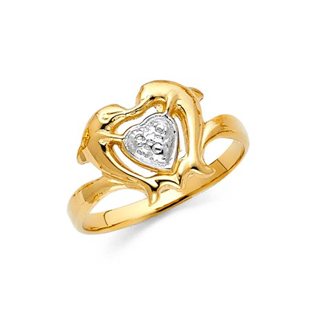 Heart Lover Dolphins Polish Finish 11mm Band 14k Two Tone Solid Gold Ring Size 7 Available All