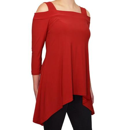 - Avital Womens Cold Shoulder Asymmetrical Trapeze Tunic Shirt