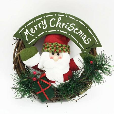 Classroom Door Christmas Decorating Ideas (Christmas Doll Small Rattan Circle Pendant Christmas Door Hanging)