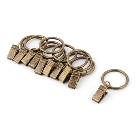 Window Drapery Wire Rod Hook Curtain Clip Rings Bronze Tone 25mm Dia 10pcs - Wire Rings