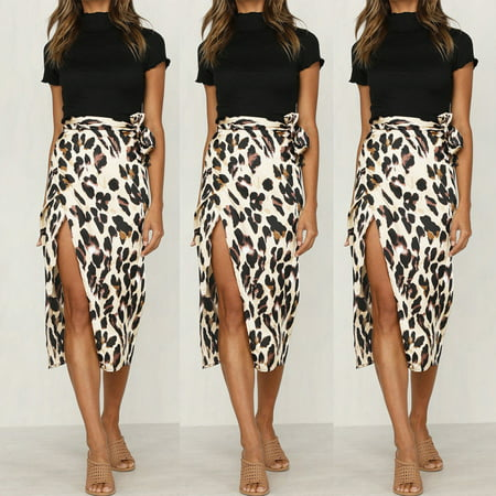 - New Summer Women Leopard Skirt Slim Fit Wrap Bandage Lace Up Bodycon Midi Skirts Apricot Size S
