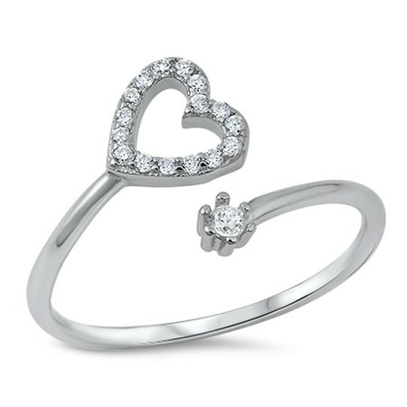 Open Micro Pave Clear CZ Heart Promise Ring .925 Sterling Silver Band Size 3
