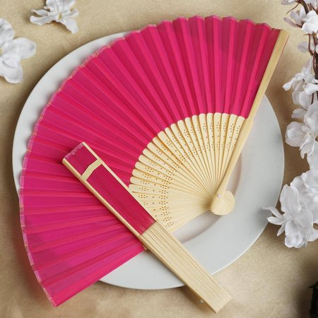 Efavormart Lot of 50 Wholesale Silk Folding Birthday Banquet Event Wedding Party Favor Fans - 17 colors available