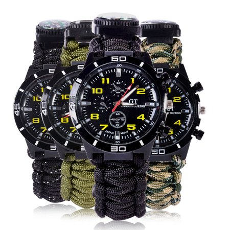 Survival Watch Outdoor Camping Compass Lighter Multi-functional Rescue Paracord Bracelet Equipment Tools kit - Paracord Compass