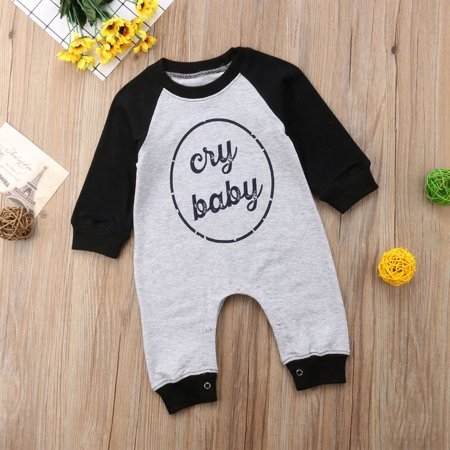8d3b24d74 Cute Newborn Baby Kids Boy Girl Infant Romper Jumpsuit Bodysuit Cotton  Outfit Set Gray 9-12M - Walmart.com