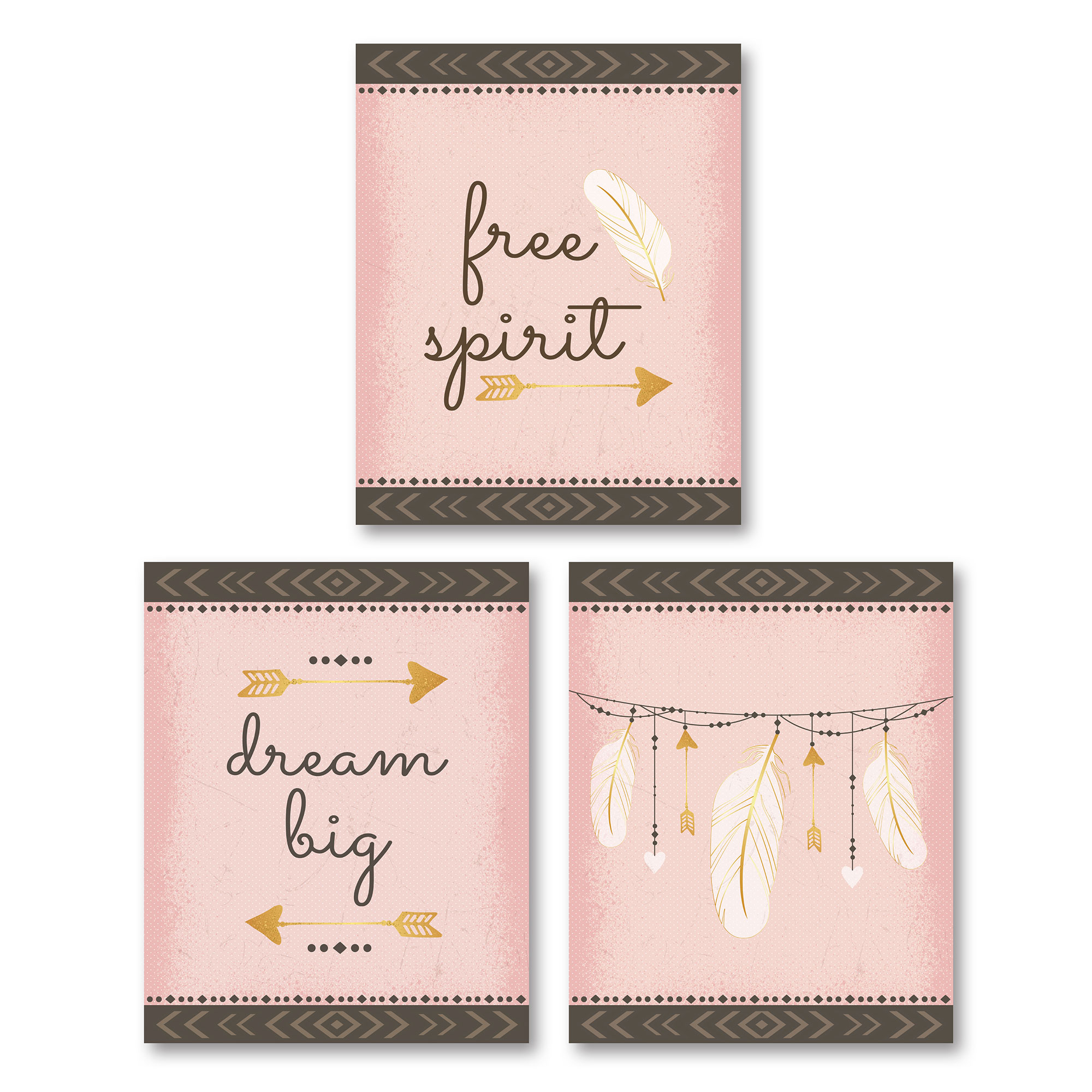"Beautiful Pink-Coral and Brown ""Free Spirit"" and ""Dream Big"" Feather and Arrow Set, Child's Room or Nursery Décor; Three 8x10in Unframed Paper Posters"