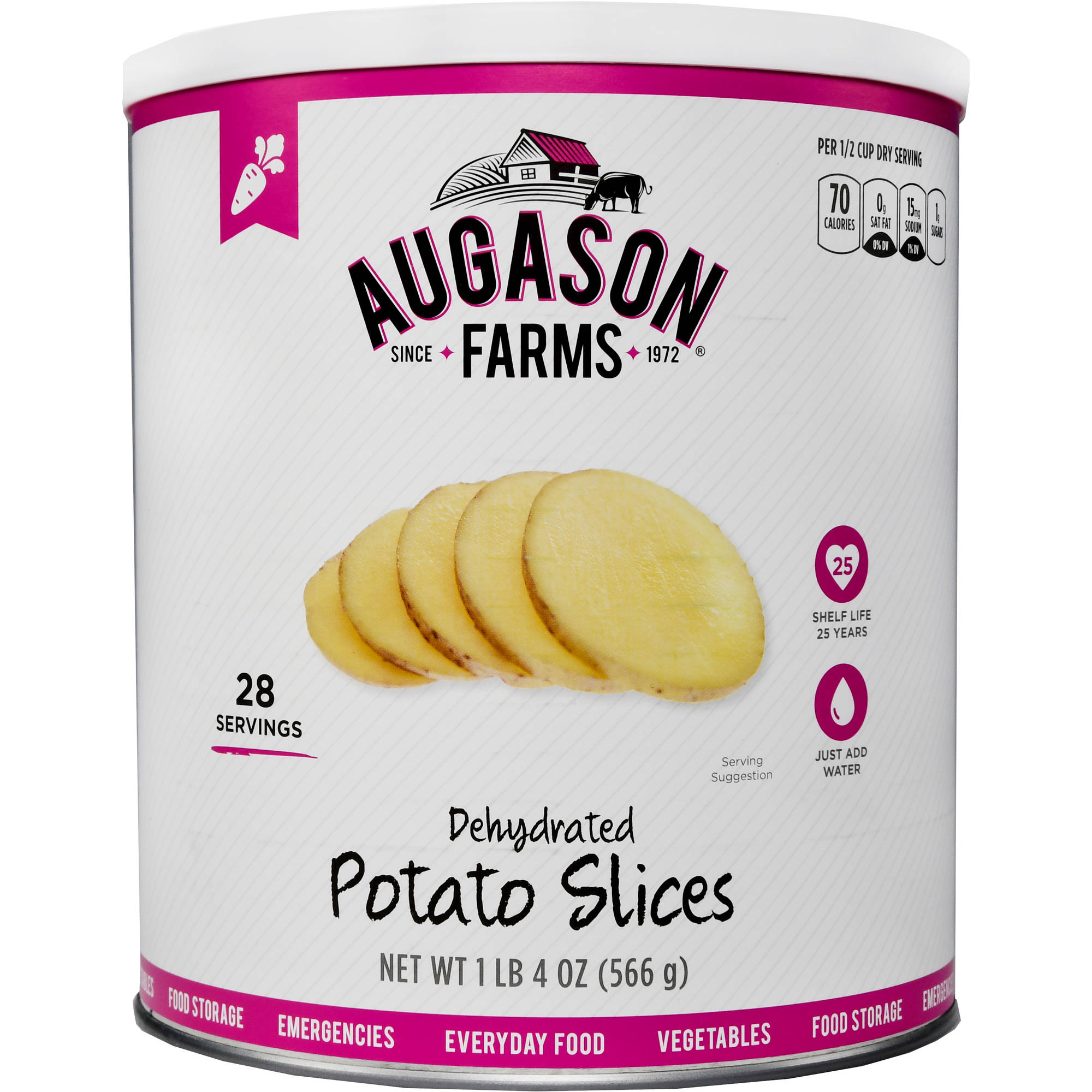 Augason Farms Emergency Food Dehydrated Potato Slices, 20 oz