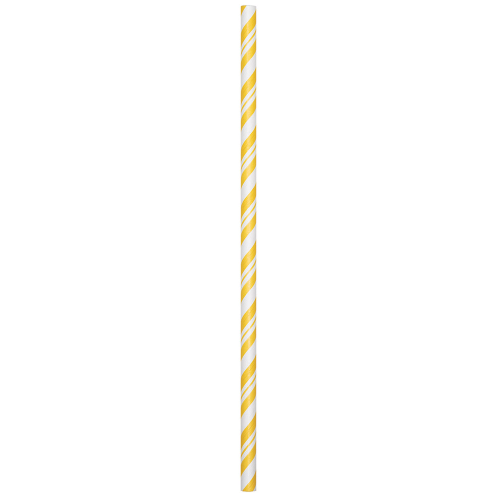 Yellow Stripe Paper Straws Party Drinking Accessory for Tropical Summer Themed Birthday Parties