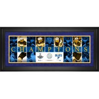 """St. Louis Blues 2019 Stanley Cup Champions Framed 10"""" x 30"""" Champions Panoramic with a Piece of Game-Used Net from the 2019 Stanley Cup Final - Limited Edition of 314 - Fanatics Authentic Certified"""
