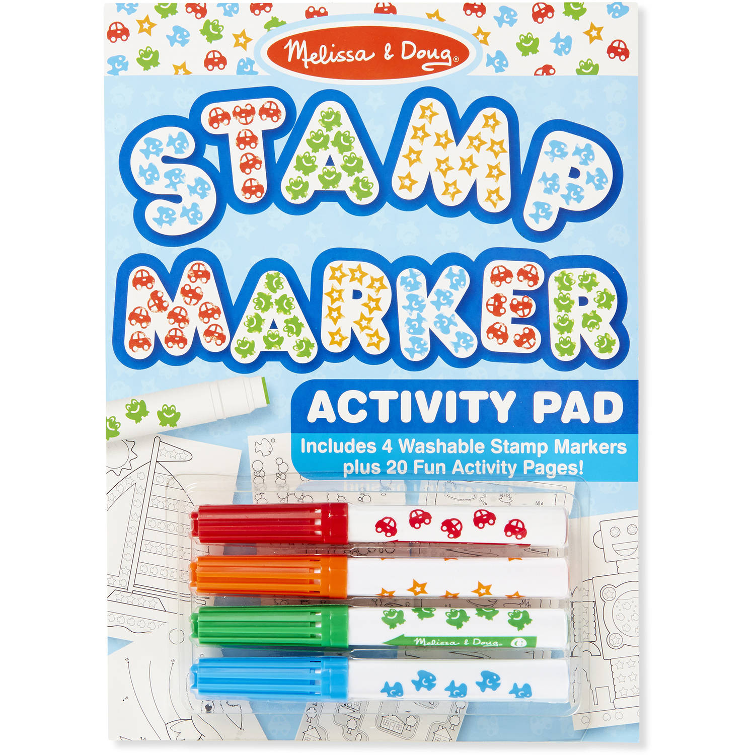 Melissa & Doug Stamp Markers and Activity Pad - Stars, Fish, Cars, and Frogs
