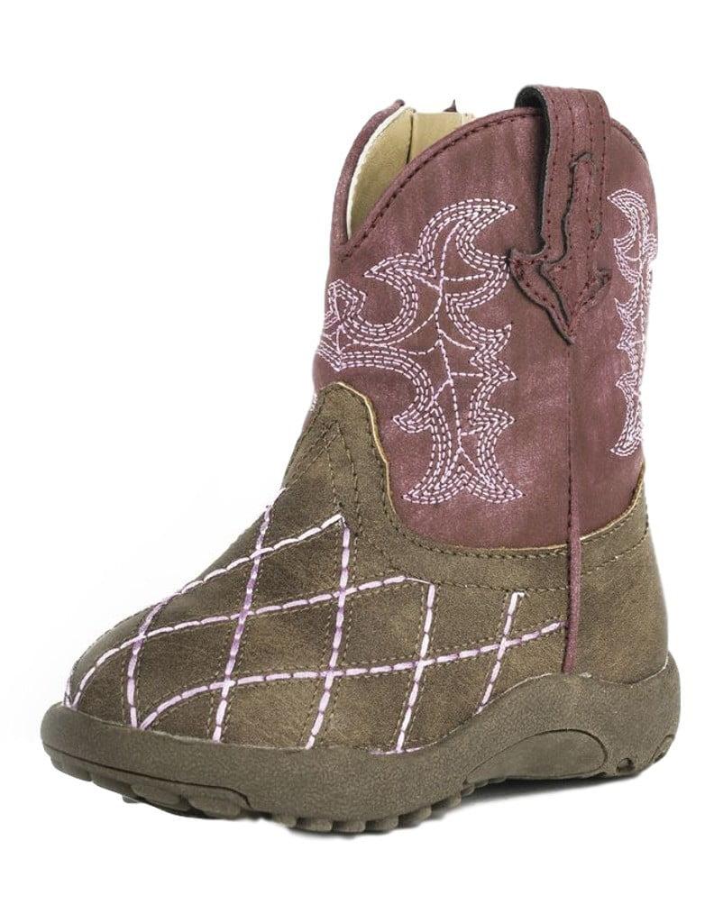 Roper Western Boots Girls Round Zipper Brown Pink 09-016-1900-0081 BR