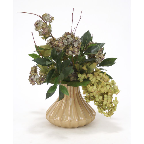 Distinctive Designs Silk Peegee Hydrangeas and Snowball Branches in Milu Fluted Vase