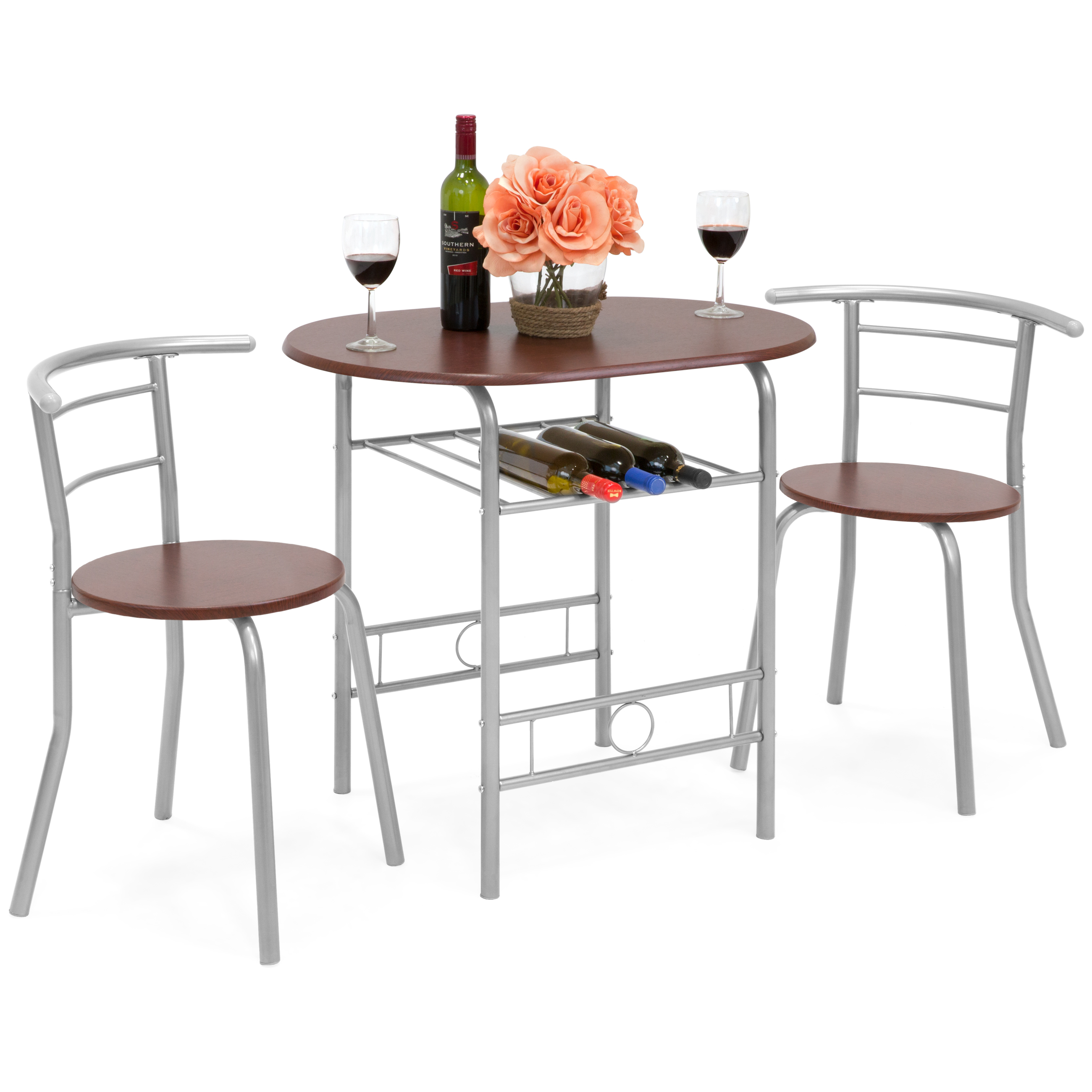 Best Choice Products 3-Piece Wooden Kitchen Dining Room Round Table and Chairs Set w  Built In Wine Rack (Espresso) by Best Choice Products