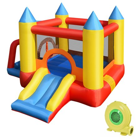 Costway Inflatable Mighty Bounce House Jumper Castle Moonwalk Slide w/480W Blower - Inflatable Bouncy Horse