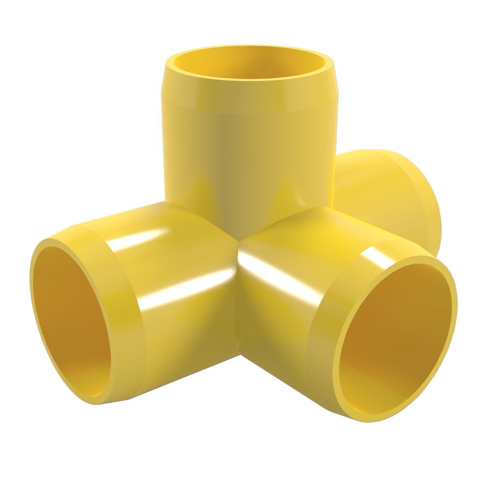 "FORMUFIT F1144WT-YE-4 4-Way Tee PVC Fitting, Furniture Grade, 1-1/4"" Size, Yellow , 4-Pack"