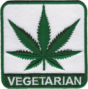 "WEED VEGETARIAN PATCH Iron-On / Sew-On Marijuana Patch Officially Licensed Marijuana Weed Pot/Pop Culture Artwork, 3"" x 3"" Embroidered Patch"