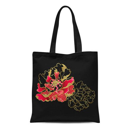 LADDKE Canvas Tote Bag Black Peony Flowers Sequins and Beads of Embroidered Ethnic Reusable Shoulder Grocery Shopping Bags Handbag