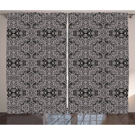 Dark Grey Curtains 2 Panels Set, Abstract Antique Pattern with Curves and Swirls Renaissance Revival Vintage, Window Drapes for Living Room Bedroom, 108W X 108L Inches, Black Dimgrey, by Ambesonne (Carved Antique)