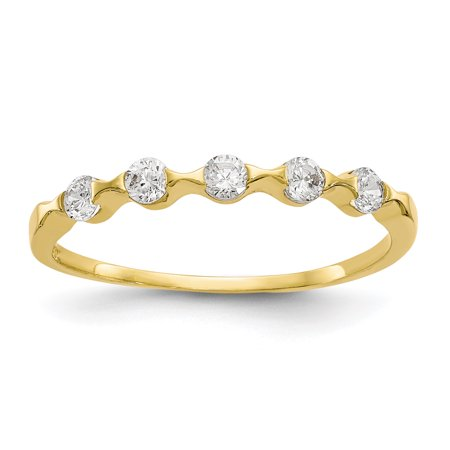 10k Yellow Gold Cubic Zirconia Cz Wedding Ring Band Size 8.50 Fancy Gifts For Women For Her Center Fancy Wedding Bands