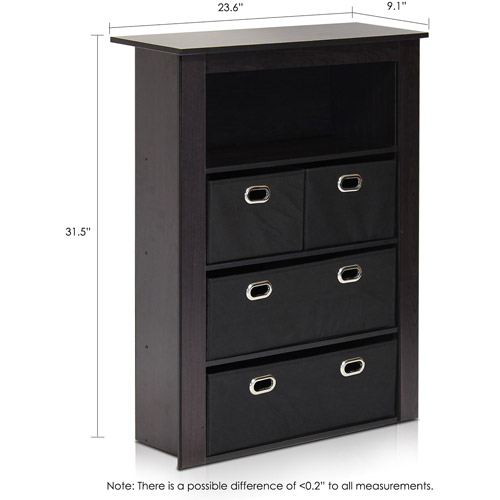 Brown Econ Home Office Furniture 13089EX//LB Storage Organizer Cabinet With Bins