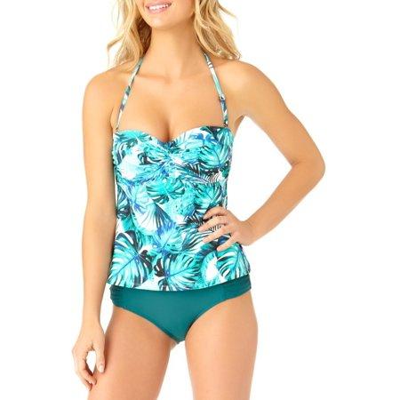 Catalina Women's Leaf Twist Bandeau Tankini Swim - Bandeau Tankini Top