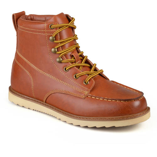 daxx mens lace up faux leather moc toe work boots shoes