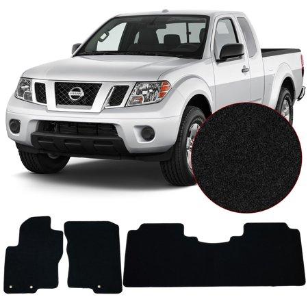 Fits 14-17 Nissan Frontier Floor Mats Front & Rear 3PC Black Nylon