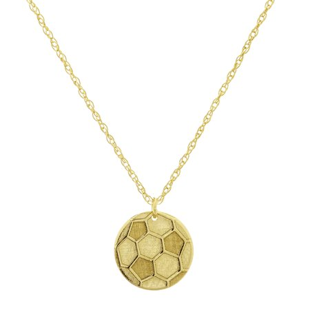 14k Yellow Gold Soccer Ball Necklace Adjustable Length - So You