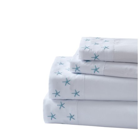 Montego Bay Starfish 3-piece Embroidered Sheet Set Twin