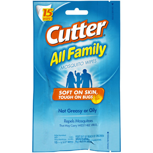 Cutter All Family Insect Repellent Mosquito Wipes, 15-Count