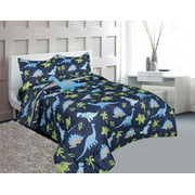 Golden Linens Full Size 8 pieces Printed Microfiber Kids Comforter Bed in Bag Set with Sheet set &Toy Blue and Lime Green Dinosaur # 8Pcs Blue Dinosaur