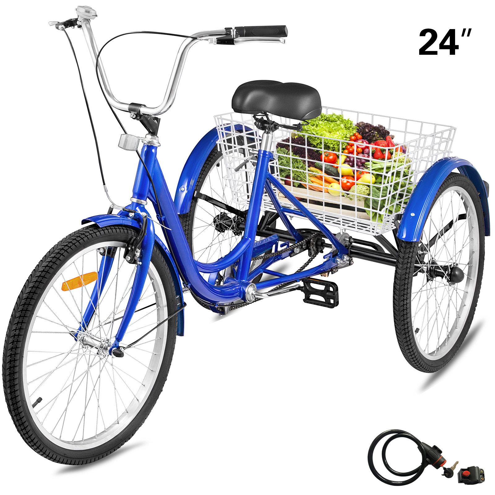 "24/"" 3 Wheels 6 gears adults Tricycle bicycle loads Bicycle Tricycle /& Light"