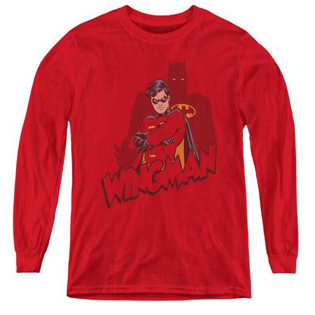 Batman & Wingman-Youth Long Sleeve Tee, Red - Medium - image 1 de 1