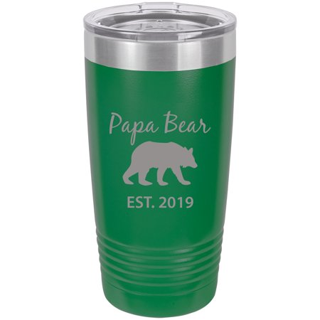 Papa Bear Established Est. 2019  Stainless Steel Engraved Insulated Tumbler 20 Oz Travel Coffee Mug, (Best Travel Accessories 2019)