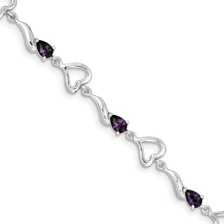 Sterling Silver & Amethyst Polished Fancy Link Heart Bracelet. Gem Wt- - Sterling Silver Polished Heart Link