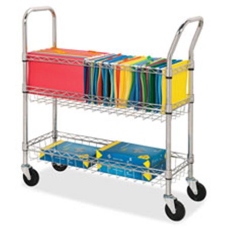 Wire Mail Cart, Ltr-Lgl, 34.25 in. x 12.5 in. x 40 in., Chrome