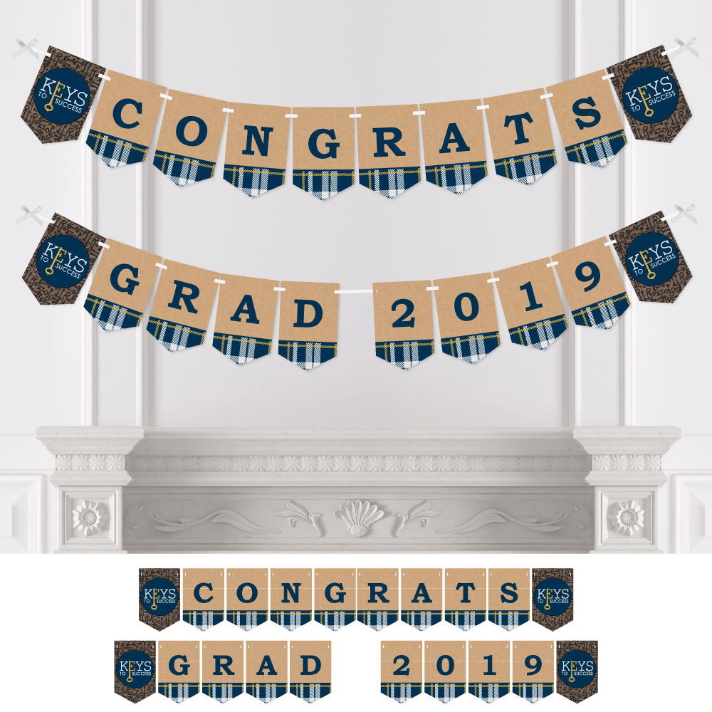 Grad Keys to Success - Graduation Party Bunting Banner - Blue Party Decorations - Congrats Grad 2019