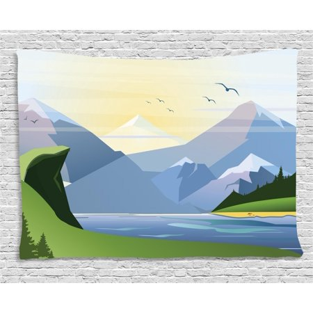 Northwoods Tapestry, Nature Illustration with Grass Lake Forest Mountains and Hills Outdoor Activity, Wall Hanging for Bedroom Living Room Dorm Decor, 60W X 40L Inches, Multicolor, by (Hill Outdoor Hanging Wall)