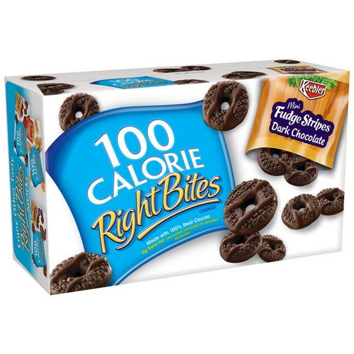 Keebler Right Bites 100 Calorie Mini Fudge Stripes Dark Chocolate Cookies, 6ct