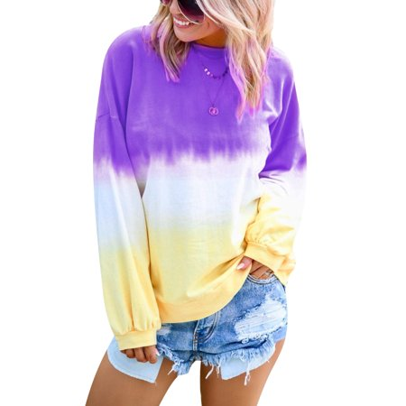 Vitmona Women Long Sleeve Gradient Tie Dye Sweatshirt Pullover Tops Women Tye Dye