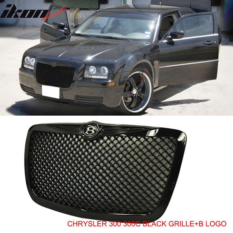 Fits 04 10 Chrysler 300 300c Black Mesh Diamond Front Hood Grill