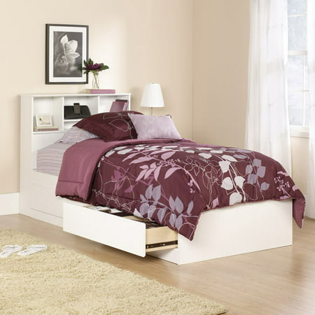 Mainstays Mates Bed, Twin, Soft White Finish, With Bookcase Headboard
