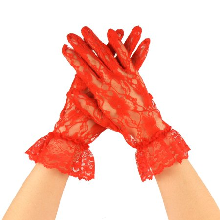 Fancy Floral Sheer Lace Tea Party Vintage Style Ruffle Wrist Dressy Gloves Red Lace Glove Pattern