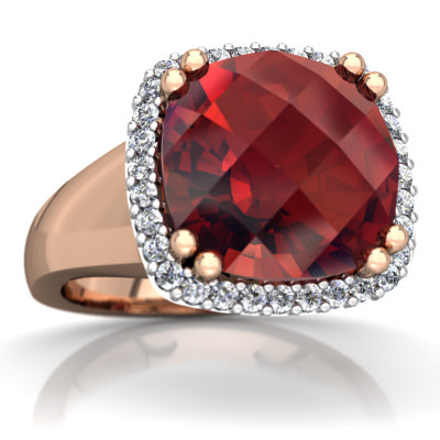 Garnet Halo Cocktail Ring in 14K Rose Gold by