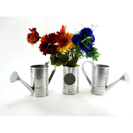 Image of 3pc Galvanized Water Cans bucket pail planter arrangement pot flower seedling