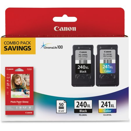 Canon PG-240XL/CL-241XL/GP-502 High Yield Ink Cartridges + Photo Paper Combo Pack, 2-Pack (240XCL241XL) (Ink Cartridges Canon Mx410)