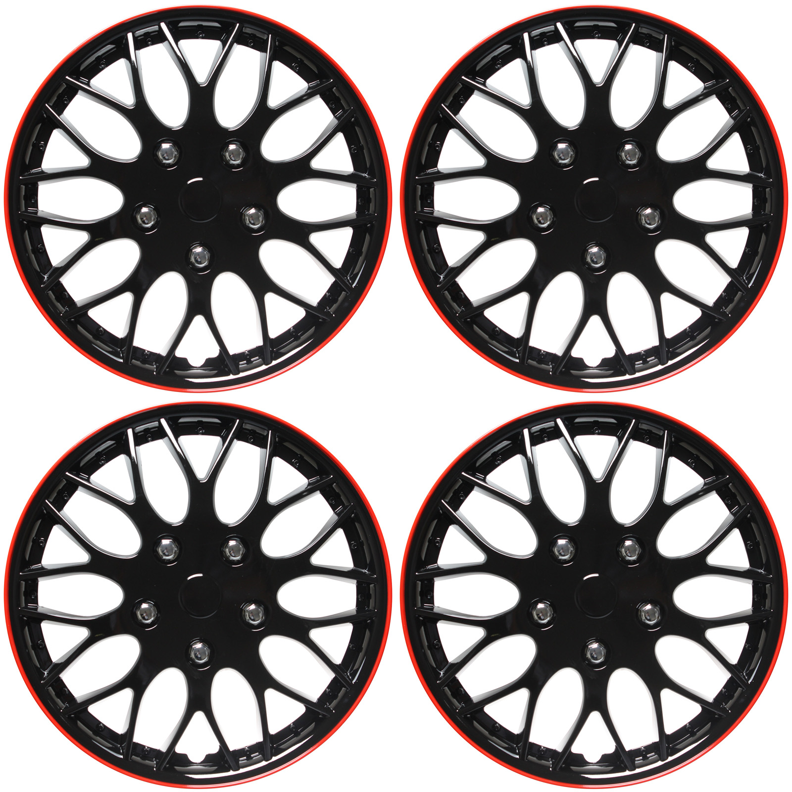 """Cover Trend (Set of 4), Aftermarket, 16"""" Shiny Black W/ Red Trim Hub Caps Wheel Covers"""